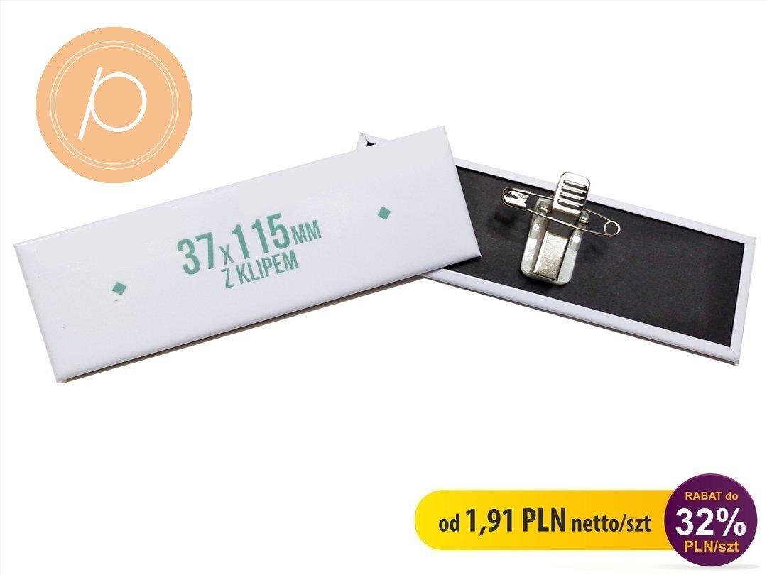 Przypinka prostokątna 37x115mm - zapięcie na clip z agrafką