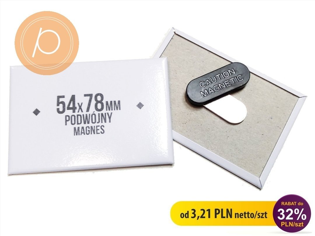 Przypinka prostokątna 54x78mm - zapięcie magnetyczne