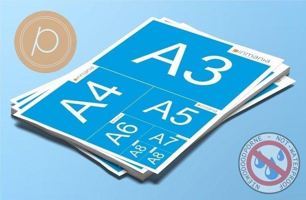 Naklejki papierowe w rozmiarach DIN od A3 do A8 - na arkuszach